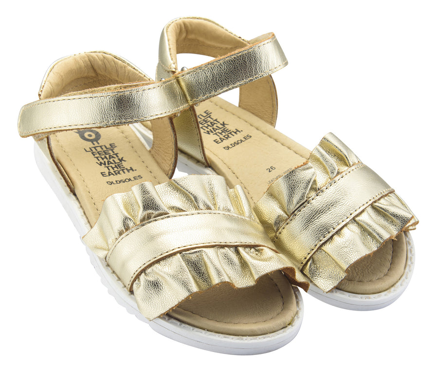 Old Soles Girl's I'm-Frilled Leather Sandals, Gold