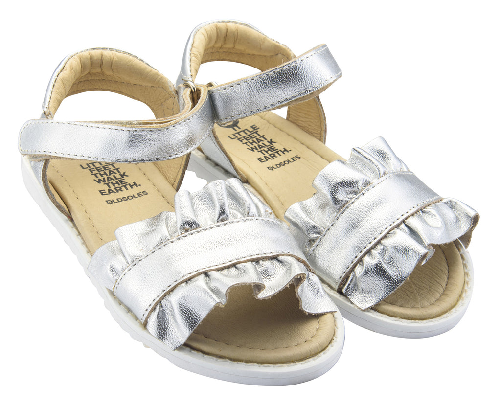 Old Soles Girl's I'm-Frilled Leather Sandals, Silver