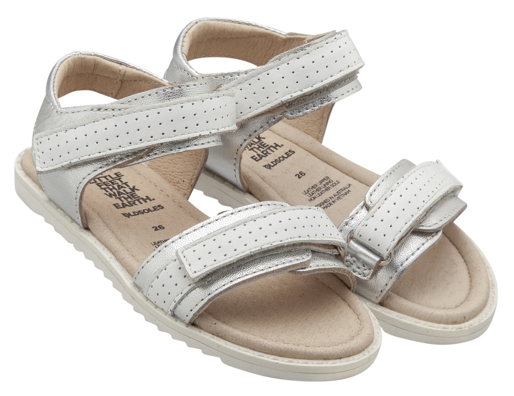 Old Soles 7016 Girl's Strapping S Sandal, Silver/Snow