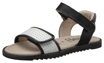 Old Soles Girls Sport-S Leather Sandals, Black/Snow