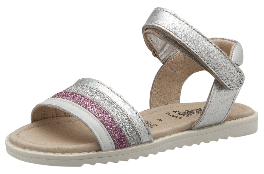 Old Soles Girls Colour Pot Leather Sandals, Silver/Snow/Glam Pink/Glam Argent/Silver