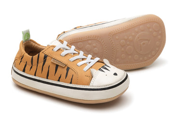 Tip Toey Joey Boy's and Girl's Funky Tiger Sneakers, Hay/Tapioca