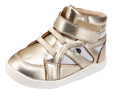 Old Soles Girl's and Boy's 8009 Shizam High Top Leather Sneakers - Gold/Snow
