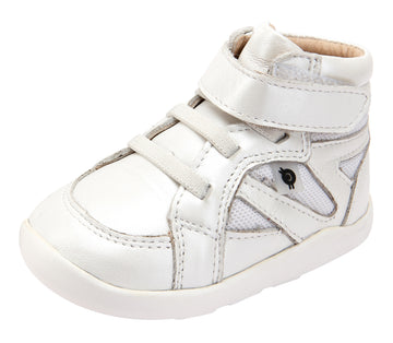 Old Soles Girl's 8009 Shizam High Top Leather Sneakers - Nacardo Blanco/Snow
