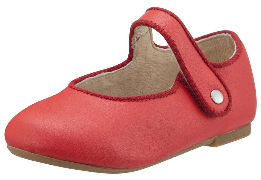 Old Soles Girl's 803 Lady Jane Light Red Leather Hook and Loop Decorative Button Mary Jane Flat Shoe