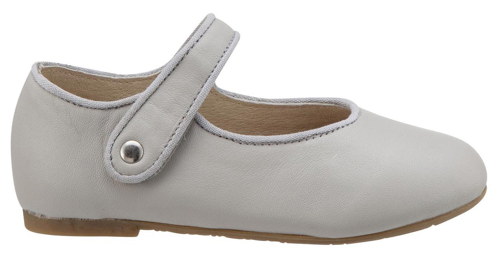 Old Soles Girl's 803 Lady Jane Light Grey Leather Hook and Loop Decorative Button Mary Jane Flat Shoe