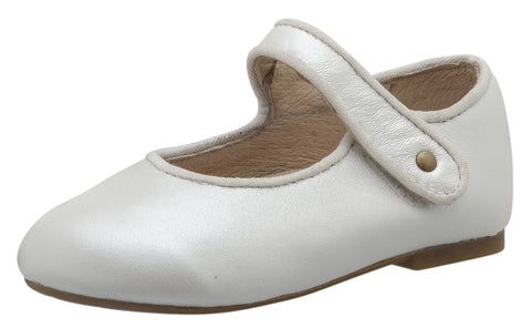 Old Soles Girl's 803 Lady Jane Nacardo Blanco Leather Hook and Loop Decorative Button Mary Jane Flat Shoe