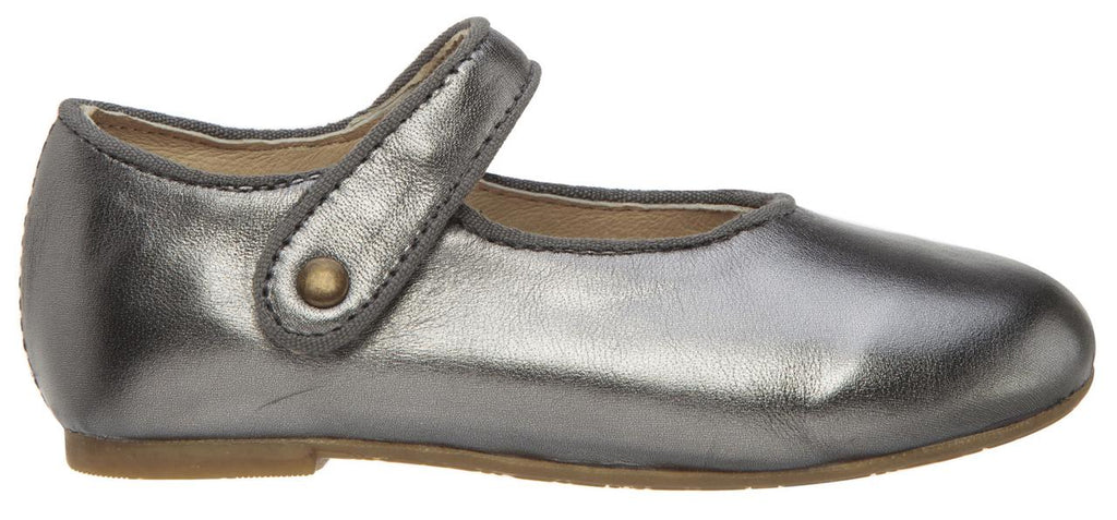 Old Soles Girl's 803 Lady Jane Rich Silver Leather Hook and Loop Decorative Button Mary Jane Flat Shoe