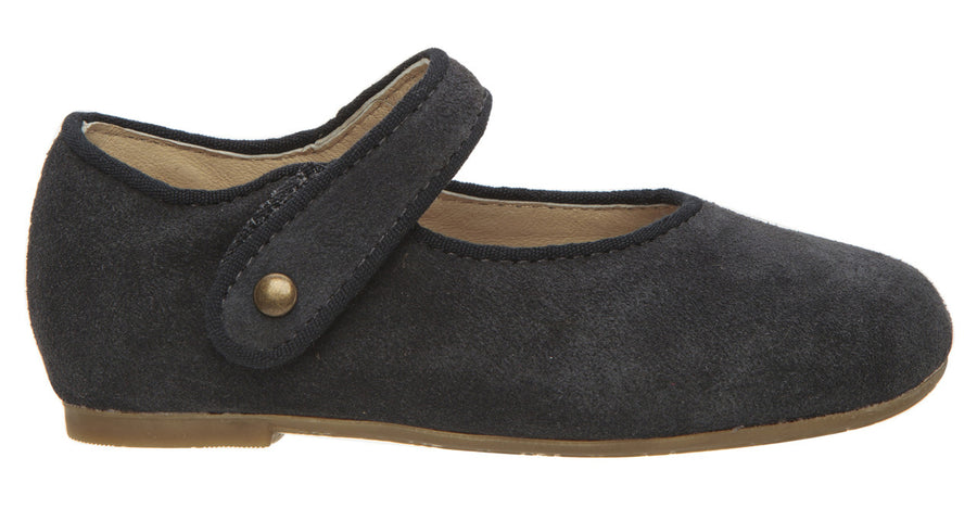 Old Soles Girl's 803 Lady Jane Navy Suede Leather Hook and Loop Decorative Button Mary Jane Flat Shoe