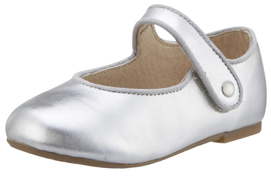 Old Soles Girl's 803 Lady Jane Silver Leather Hook and Loop Decorative Button Mary Jane Flat Shoe