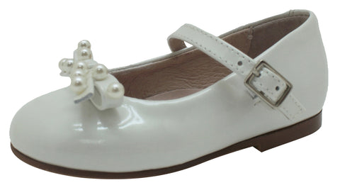 Oca-Loca Girl's 8046 Leather and Pearl Mary Jane Dress Shoes, White