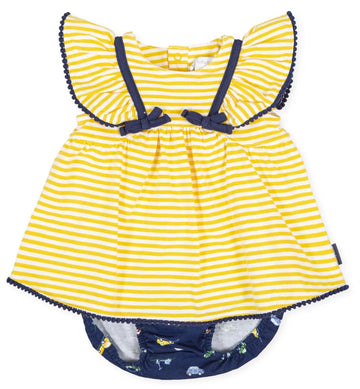 Tutto Piccolo Girl's Dress with Briefs - Yellow/Navy