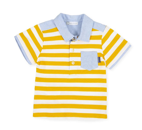 Tutto Piccolo 8836 Yellow Striped Polo Shirt