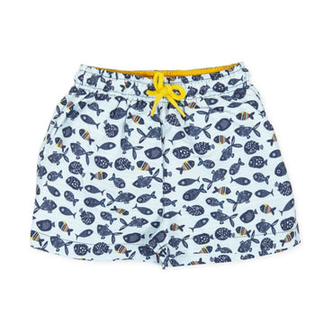 Tutto Piccolo Boy's Fish Swim Trunks - Turquiose