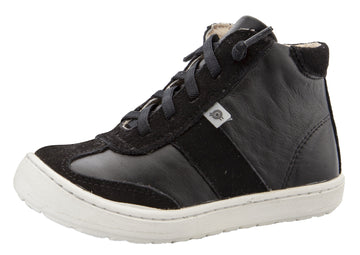 Old Soles Girl's & Boy's 9001 Travel High Top Leather Sneakers - Black/Black Suede