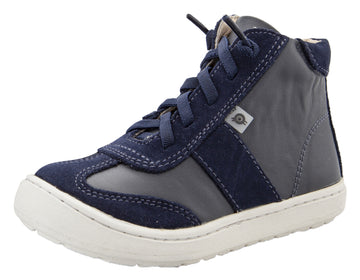 Old Soles Girl's & Boy's 9001 Travel High Top Leather Sneakers - Navy/Navy Suede
