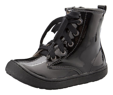 Old Soles Girl's & Boy's 9005 Swagger High Top Lace Sneaker Boots - Black Patent