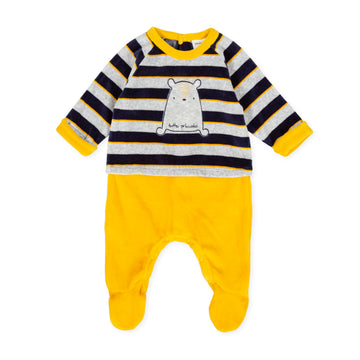 Tutto Piccolo Boy's & Girl's 9095 Pelele M/L Tundosado Velour Babygrow - Navy Blue
