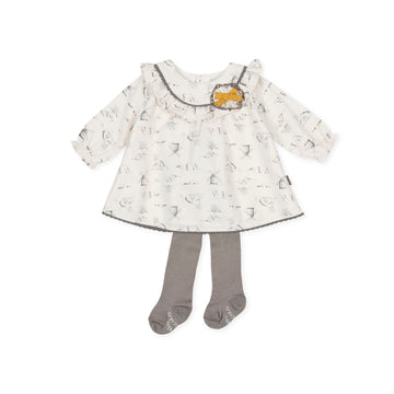 Tutto Piccolo Girl's 9212 Dress With Tights - Ecru
