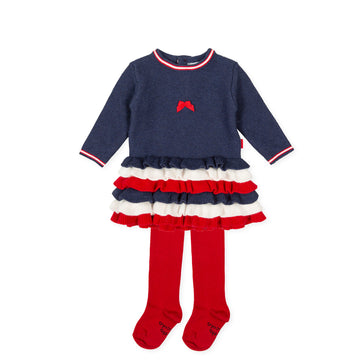 Tutto Piccolo Boy's & Girl's 9415 Vestido Tricot Knitted Dress - Navy Blue