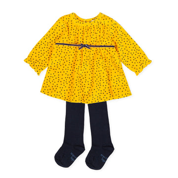 Tutto Piccolo 9796 Vestido Tundosado Velor Dress With Tights - Mustard