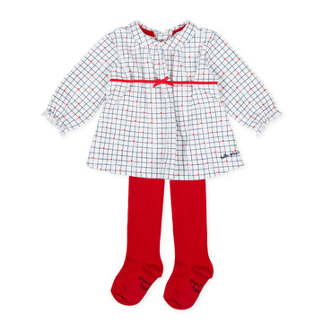 Tutto Piccolo Girl's 9797 Vestido Interlock Dress With Tights - Optical White/Red