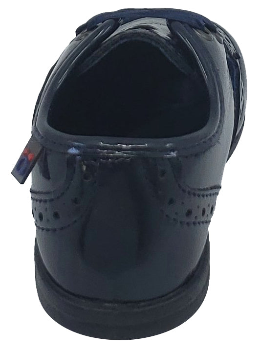 Conguitos Soft Patent Leather Wingtip Navy Toddler Mocassin for Boy's and Girl's