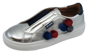Atlanta Mocassin Girl's Leather Pom Pom Slip-On, Silver