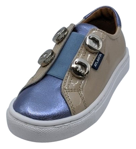 Atlanta Mocassin Girl's Patent Leather Stud Sneaker, Violet/Beige/Blue