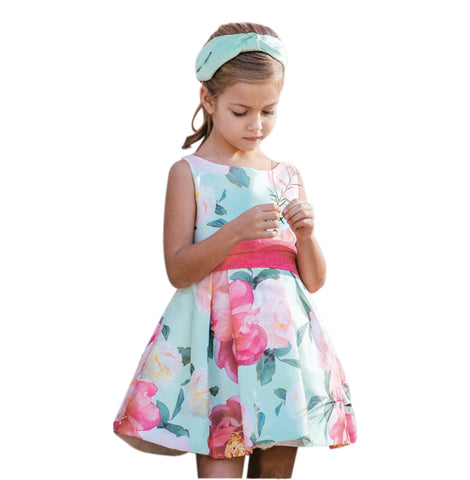Amaya Girl's 513202SM Floral Dress - Green
