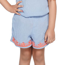 America & Beyond Periwinkle Orange Detail Shorts