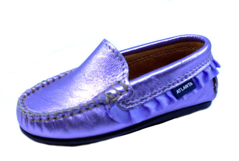 Atlanta Mocassin Girl's Metallic Violet Loafer with Ruffled Trim