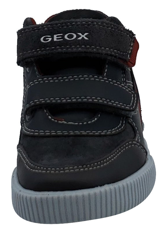 Geox Kilwi Dark Grey Black Suede Hook and Loop Boy's Hightop