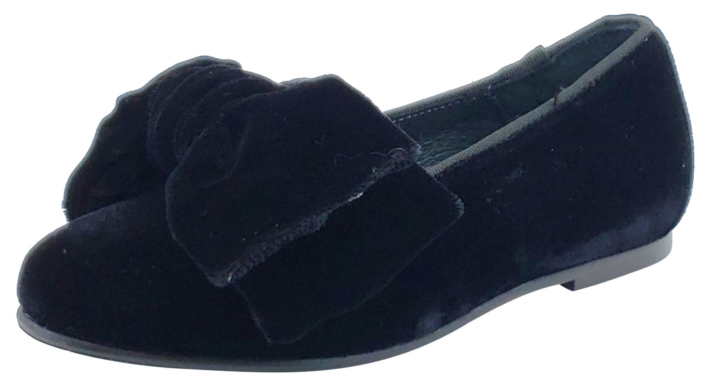 BluBlonc Girl's Black Velvet Bow Flat Shoe