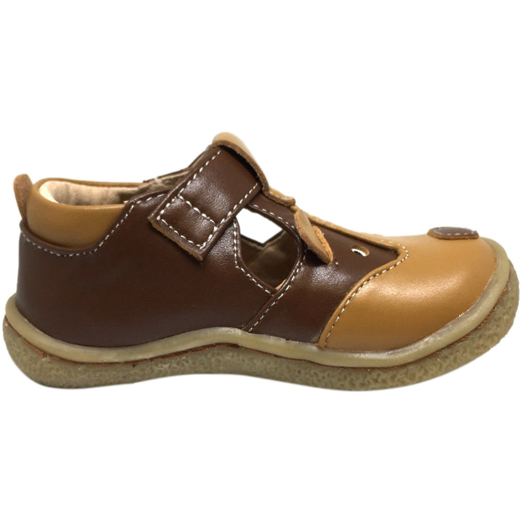 Livie & Luca Boy's and Girl's Badger Leather T Strap Hook and Loop Shoes Brown