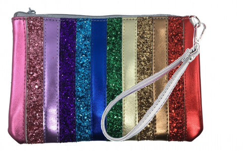 Bari Lynn Girl's Rainbow Wristlet Clutch and Chain Handbag