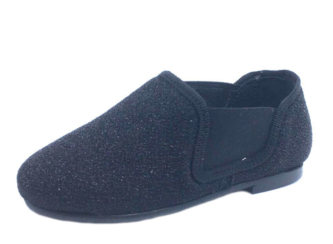 BluBlonc for Boy's and Girl's Black Textile Sparkle Elastic Side Slip On