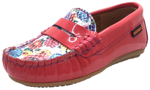 Andago by Venettini Girl's Brave Bright Pink Coral Patent Leather Floral Print Upper Slip On Moccasin Loafer