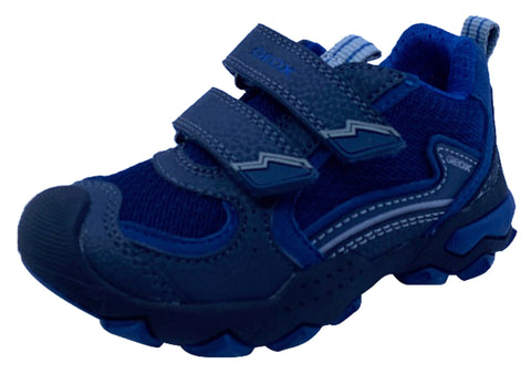 Geox Respira Boy's J Buller Double Hook and Loop Sneaker Shoes, Navy/Grey