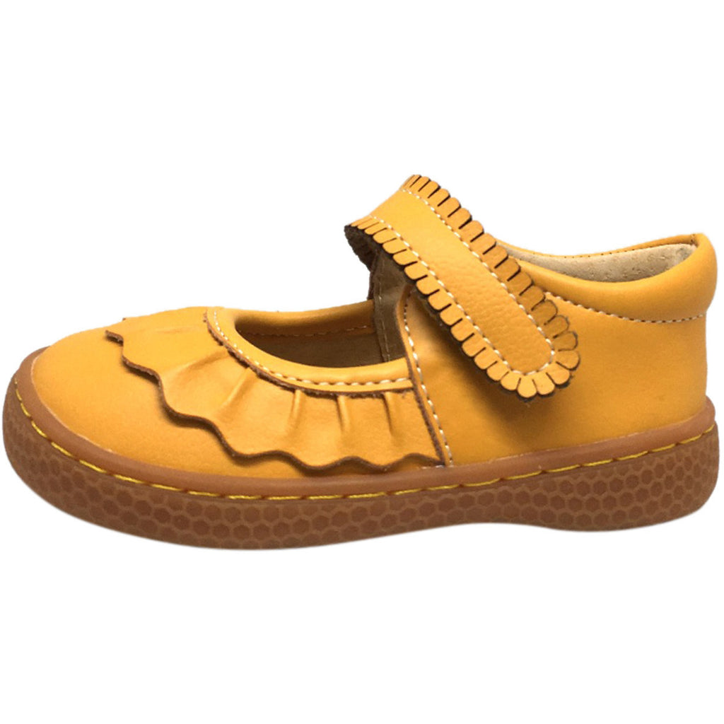 Livie & Luca Girl's Ruche Ruffled Leather Hook and Loop Mary Jane Shoe Butterscotch - Just Shoes for Kids  - 2
