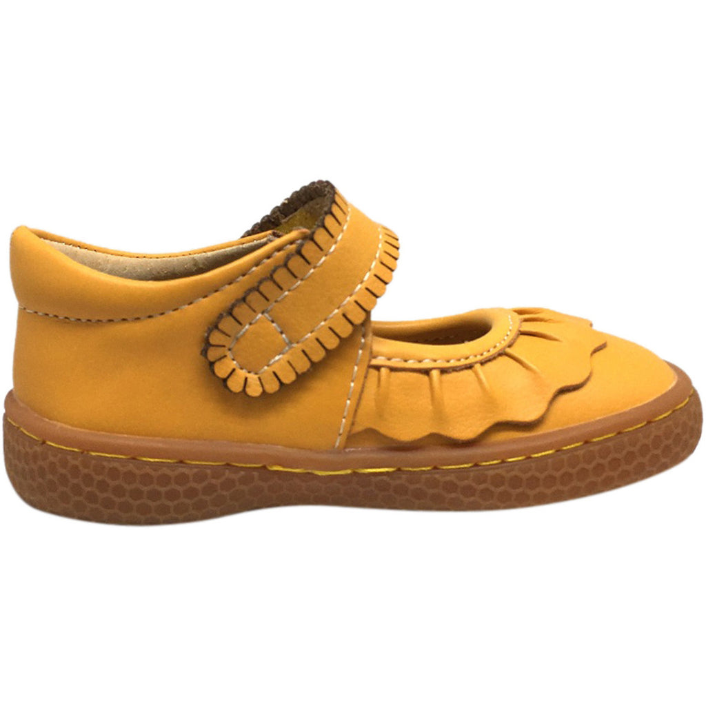 Livie & Luca Girl's Ruche Ruffled Leather Hook and Loop Mary Jane Shoe Butterscotch - Just Shoes for Kids  - 3