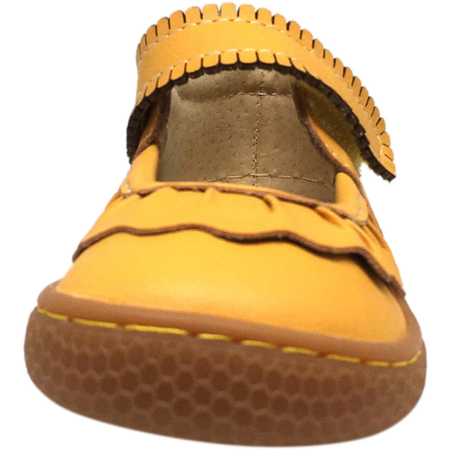 Livie & Luca Girl's Ruche Ruffled Leather Hook and Loop Mary Jane Shoe Butterscotch - Just Shoes for Kids  - 4