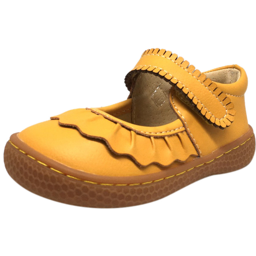 Livie & Luca Girl's Ruche Ruffled Leather Hook and Loop Mary Jane Shoe Butterscotch - Just Shoes for Kids  - 1