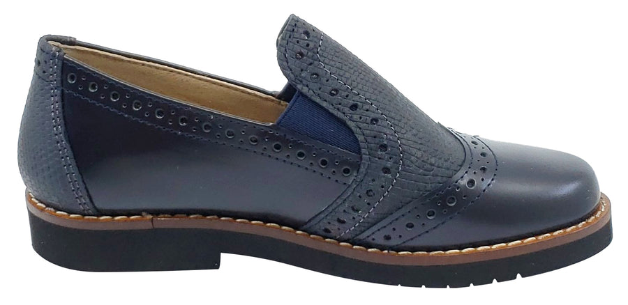 Maria Catalan Boy's & Girl's Marino Navy Smooth Slip On Moccasin Loafer Shoe
