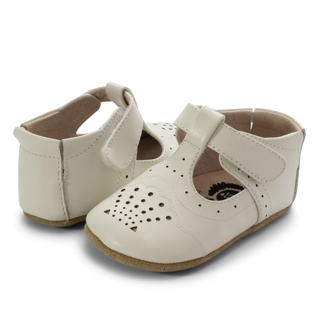 Livie & Luca Girl's Cora II Hook and Loop Mary Jane Shoes, Milk
