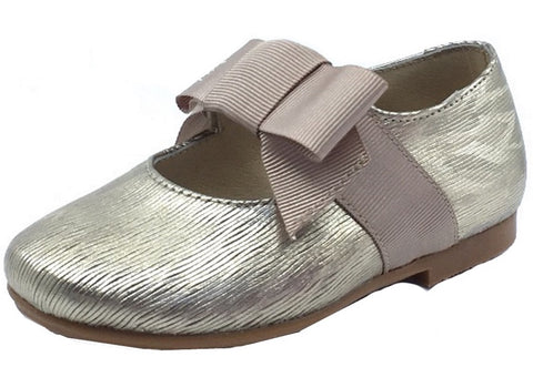 Luccini Girl's Mary Jane with Grosgrain Bow, Champagne