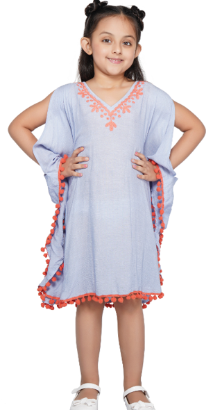 America & Beyond Periwinkle Orange Detail Cover-Up