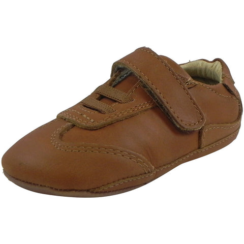 Old Soles Boy's and Girl's Tan Kick Out Soft Leather Crib Walker Baby Shoes