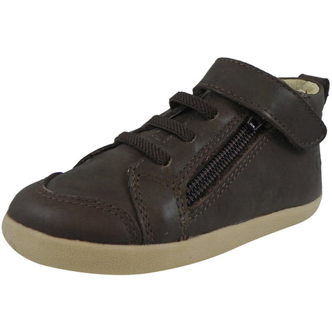Old Soles Boy's 369 Brown Sure Step Leather Zip Up Stretch Lace Sneakers - Just Shoes for Kids  - 1