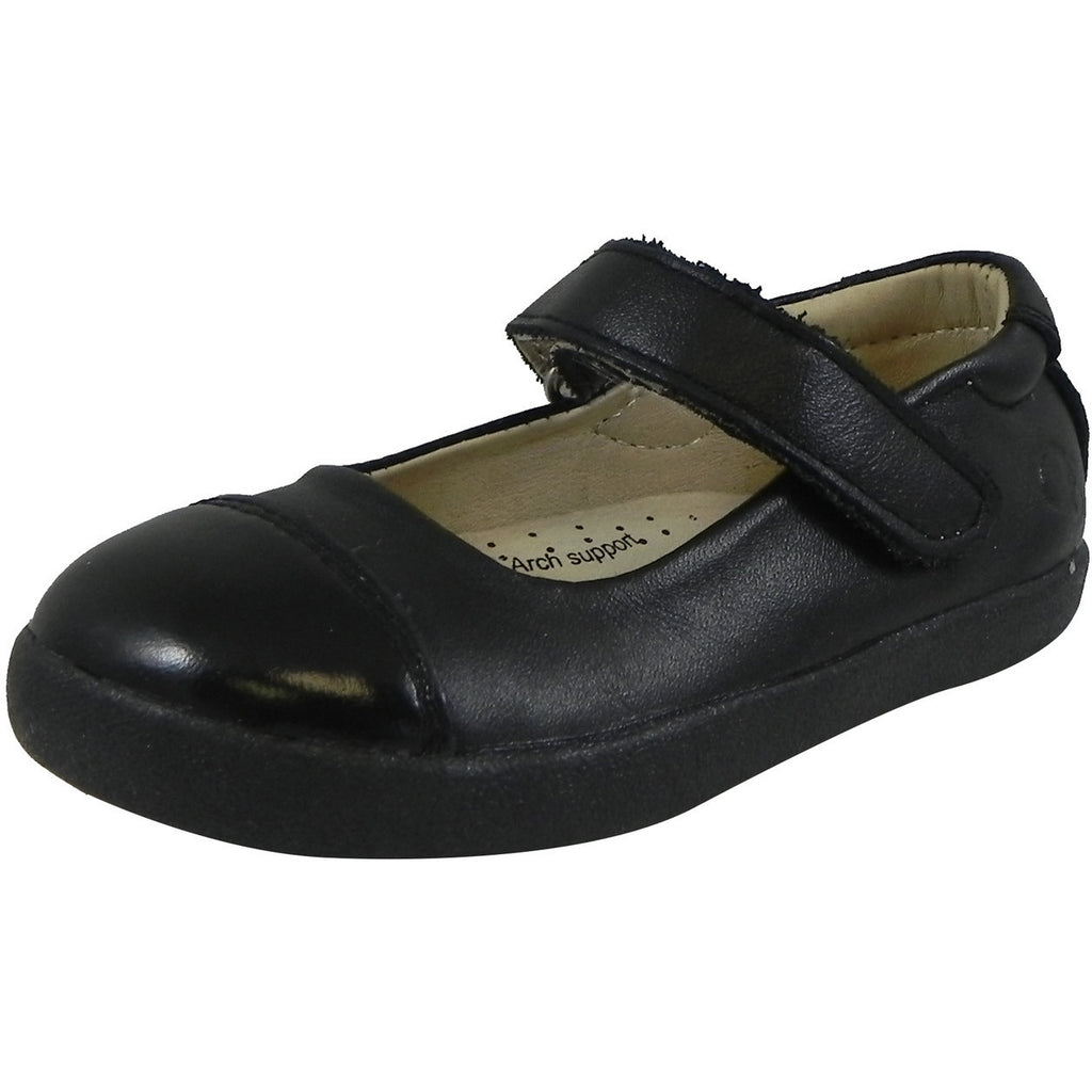 Old Soles Girl's 365 Quest Shoe Black Leather Hook and Loop Mary Jane Shoe - Just Shoes for Kids  - 1